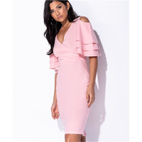 Knielanges Kleid in Wickel-Optik mit Volantärmeln Rosa