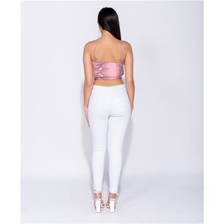Sexy Damen Highwaist Röhrenjeans Destroyed-Look Weiß