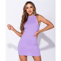 Sleeveless high-neck minidress rib-knitted bodycon fit lilac