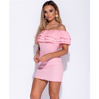 Bodycon minidress with flounce top in Carmen style pink