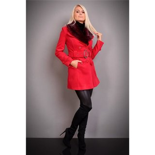 PRECIOUS LUXURY SHORT COAT WITH FAKE FUR RED