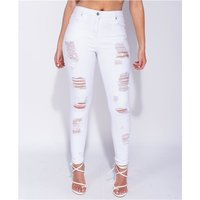 Womens skinny jeans high waist destroyed look white UK 14...