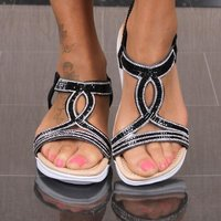 Flat womens strap sandals breathable summer shoes black