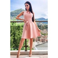 Sleeveless skater dress with tie belt antique pink