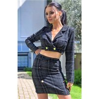 Short womens blazer jacket in checked bouclé look black