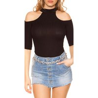 Süßes Damen Halbarm Cold-Shoulder Shirt Rippstrick...