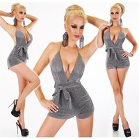Sexy womens halterneck playsuit with glitter silver...