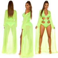 Womens chiffon beach kimono long beach dress neon-green