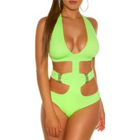 Sexy womens halterneck monokini beachwear neon-green UK...