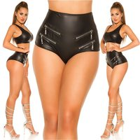 Sexy womens gogo hot pants with high waist leather look...