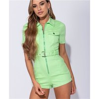 Womens short jeans jumpsuit playsuit with belt neon-green