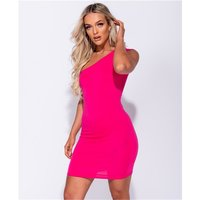 Close-fitting womens one-shoulder bodycon minidress fuchsia