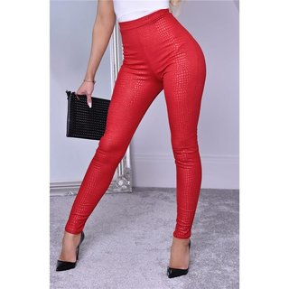 Eng anliegende Damen Leggings Wetlook mit Kroko-Optik Rot