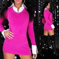 Sexy knitted mini dress with blouse inset fuchsia