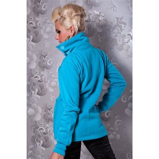 Elegant zipper jacket with standing collar turquoise