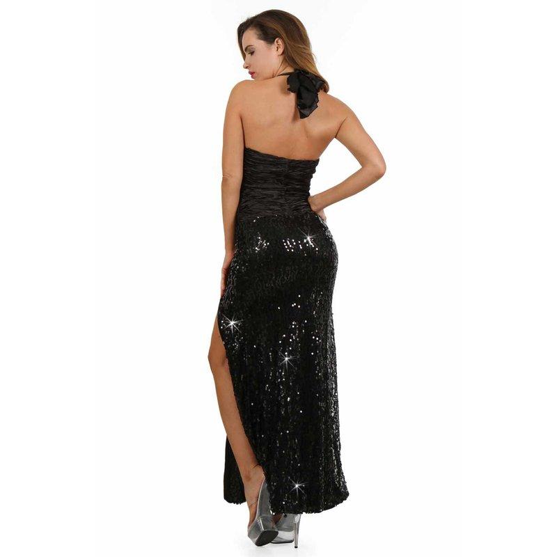 Bodenlanges Damen Neckholder Pailletten Abendkleid Schwarz #AK1390