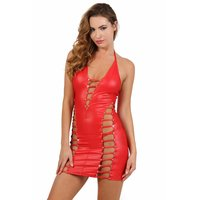 Sexy Damen Club Minikleid in Wetlook mit Strass Rot 40/42...