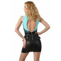 Sleeveless minidress in leather look with lace...