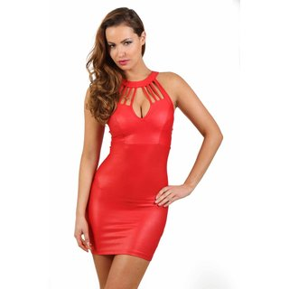 Sexy Damen Club Minikleid in Wetlook mit Riemen Rot