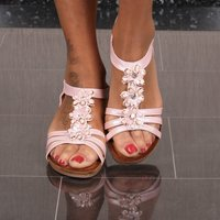 Womens strappy sandals summer shoes wedges with flowers pink
