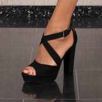 Womens velour platform sandals with block heel black UK 5
