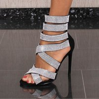 Noble womens velour strappy sandals with rhinestones...