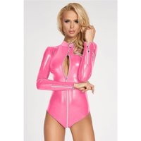 Sexy Damen Wetlook Bodysuit mit 2-Wege Zipper Pink 38 (M)