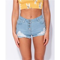 Damen Destroyed Jeans Shorts Hotpants ausgefranst Hellblau
