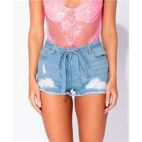 Damen Destroyed Jeans Shorts Hotpants mit Gürtel Hellblau