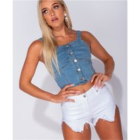 Sexy womens strappy jeans top with button front blue UK...