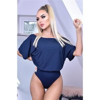 Womens bodysuit body shirt with short batwing sleeves...