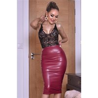 Womens high waist faux leather midi skirt wine-red UK 12 (M)