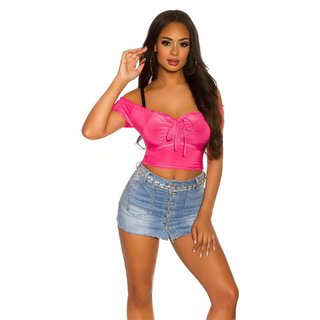 Bauchfreies Damen Off-Shoulder Top Latina Style Neon Pink