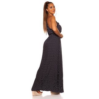 Summerly strap maxi dress with polka dots navy