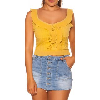 Womens chiffon top with straps and frills mustard