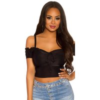 Bauchfreies Damen Off-Shoulder Top Latina Style Schwarz...