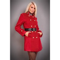 EXCLUSIVE SHORT COAT WITH DRAPES BELT RED