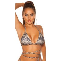 Sexy womens halterneck bikini top to tie snake UK 14 (L)