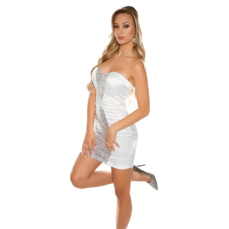 glamour satin-abendkleid mit pailletten weiß, 39,95
