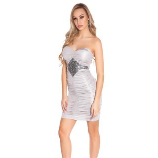 Glossy strapless mini dress with gathers grey