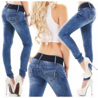 Damen Skinny Stretch Jeans Used-Look inkl. Gürtel Blau 42...
