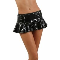 Sexy Damen Gogo Falten-Minirock in Latex-Look Vinyl...