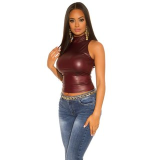 Ärmelloses Damen Shirt in Wetlook Clubwear Bordeaux