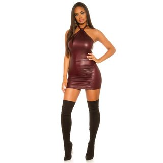 Sexy Neckholder Club Minikleid Wetlook mit Raffungen Bordeaux