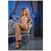 Womens Ballerina hold-up stockings with pattern skin UK...