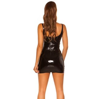 Sexy Bodycon Club Minikleid in Latex-Look Vinyl Schwarz
