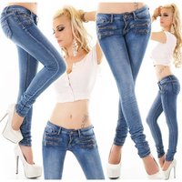 Skinny womens crashed look jeans with zips dark blue UK...