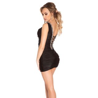 Sexy Party Minikleid in Corsagen-Look mit Strass Schwarz