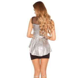 Ärmelloses Damen Glamour Shirt in Metallic-Look Silber