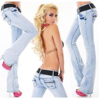 Womens bootcut jeans bleached blue with stretch belt...